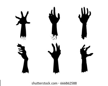 Silhouettes of Zombie Hands in different action in collection.