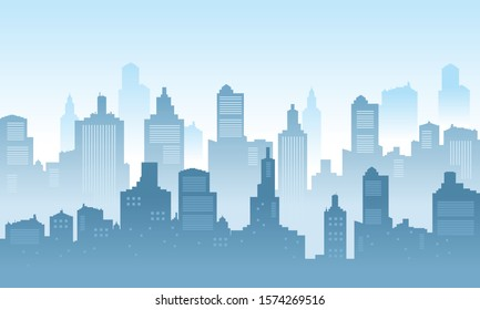 Silhoutte of City background with clear sky