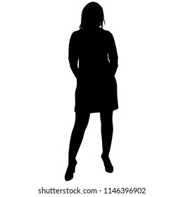 silhoutte of standing woman in short dress