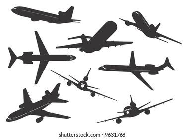 Silhuetas of commercial aircraft. Vector, illustration