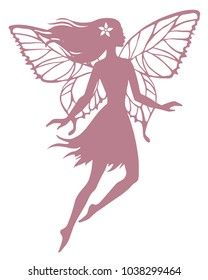 Silhuette of flying fairy, vector illustration.
