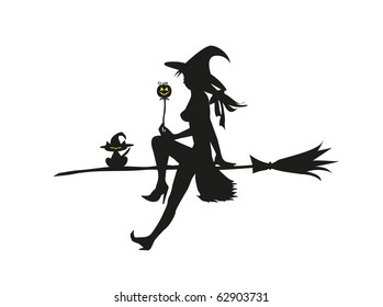 Silhuette of the witch sitting on the broom