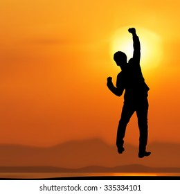 silhuouetts businessman jumping punch into the air,Celebrating success concept,vector illustration