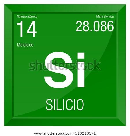 Silicio Symbol Silicon Spanish Language Element Stock Vector