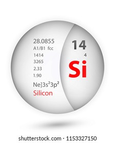 Silicon icon in badge style. Periodic table element Silicon icon. One of Chemical signs collection icon can be used for UI/UX on white background.