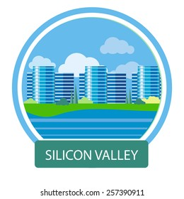 Silicon Valley sign. Office building in Silicon Valley. Poster concept in cartoon style with text