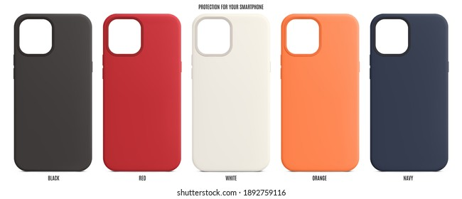 silicone cases for smartphones isolated on white background. mobile phone accessories with shadow. stock vector illustration