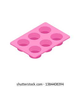 Silicone form for cooking muffin and cupcake isolated. Vector illustration