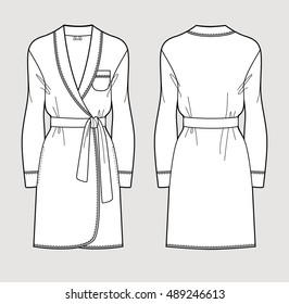 5215519c44 Silk bathrobe for women. Isolated vector. Front and back views.