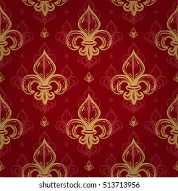 Silk empire seamless pattern with gold regal fleur de lys ornament signs in style of fashion on empire red shaded background. Attractive pattern design for all kinds of surfaces.