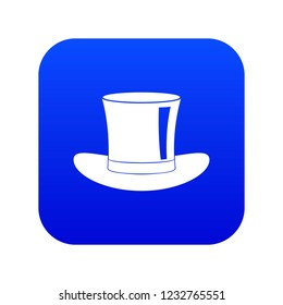 Silk hat icon digital blue for any design isolated on white vector illustration