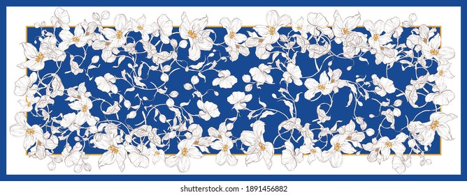 Silk scarf with apple blossom. Abstract seamless vector pattern with hand drawn floral elements. Trend colorful silk scarf with flowers. Size 180x70. Yellow, blue and white