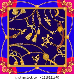 Silk scarf with baroque motifs. Curtain brushes and golden chains on contrast background. Women's fashon collection. Golden, blue, red.