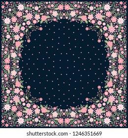 Silk scarf with beautiful pink flowers. Elegant bandana print. Vector illustration.