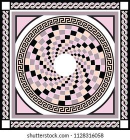Silk scarf with circles mandala style