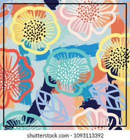 Silk scarf colorful design with flowers and abstract brush