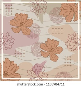 Silk scarf design with flowers pattern