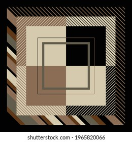 Silk scarf design with geometric pattern