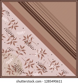 Silk scarf floral with diagonal lines and circle dots on brown. Hijab style