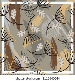 Silk scarf with flowers illustration and abstract brush