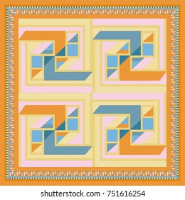Silk scarf with a geometric pattern. Square vector