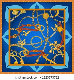 Silk scarf with golden chains, straps and curtain brushes. Squared pattern with jewelry elements. Women's fashon collection. On blue background.