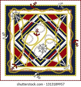 Silk scarf with marine motifs. Anchors, chains, ropes, rudders. Vector.