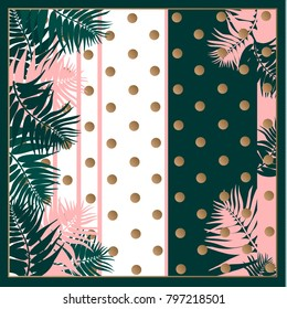 Silk scarf with palm leaves on dots and stripe background with. Tropical illustration. Jungle foliage.