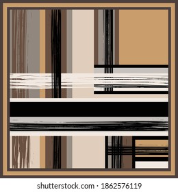 Silk scarf pattern with abstract diagonal lines on brown color