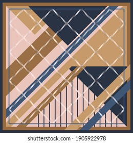 Silk scarf pattern with geometry style on brown and navy color