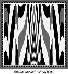 Silk scarf pattern with zebra skin elements on black and white