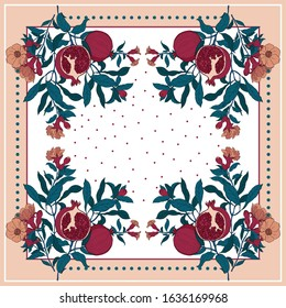 Silk scarf with pomegranate branch with fruits and flowers on white and pastel background eCard, bandana print, kerchief design, napkin.Ready for print.