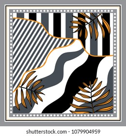 Silk scarf with stripe and leaves background