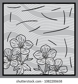 Silk scarf with stripes pattern and flower illustration on gray