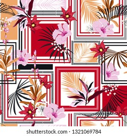 Silk scarf tropical blossom seamless vector pattern with hand drawn floral elements.Summer bright with modern frame Design for fashion ,fabric ,wallpaper, web and all prints on white background color