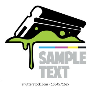 Silk screen printing vector logo template, squeegee, rubber blade with paints.