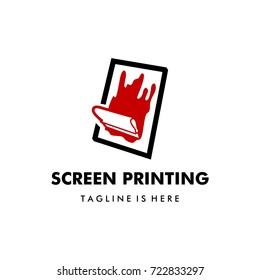 silk screen printing vector logo template