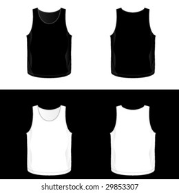 Black And White Realistic Blank Mens Tank Top Templates See Also V