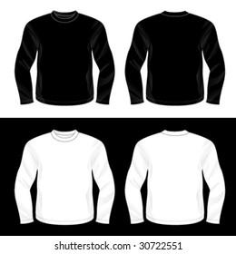 Silkscreen series. Black and white realistic blank long sleeve t-shirt templates.