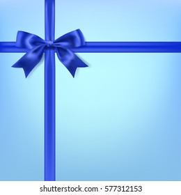silky bow ribbon on blue background. vector