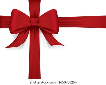 Silky satin vector ribbon bow in red
