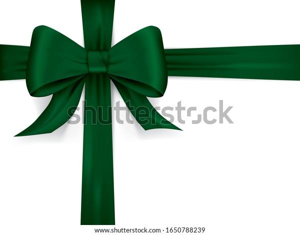 Silky satin vector ribbon bow in green