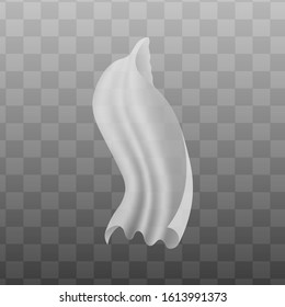 Silky white curtain blowing in the wind floating mid air isolated on transparent background - realistic soft silk fabric veil flowing in breeze. Vector illustration