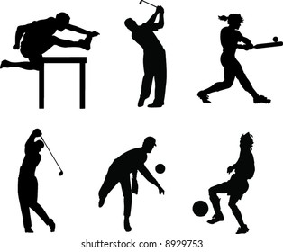 Sillhouete of 6 People playing Sports. Running, Golf, Softball, Baseball, Soccer.