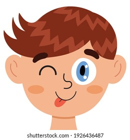 Silly boy face. Kid shows tongue clipart. Excited emotion. Emotional expression head close-up. Feeling concept vector illustration