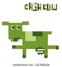 silly Cash Cow - pixelated mascot