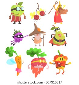 Silly Fantasy Fruit And Vegetable Characters Set