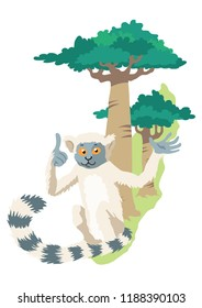A silly lemur making a face. Background shows simple map of Madagascar Island. Background is on  a separate layer.