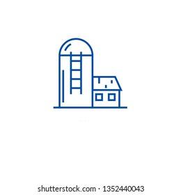 Silo, barn line icon concept. Silo, barn flat  vector symbol, sign, outline illustration.