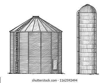 Silo illustration, drawing, engraving, ink, line art, vector